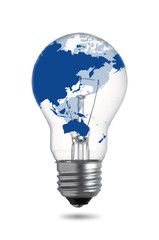 World Map on Light Bulb