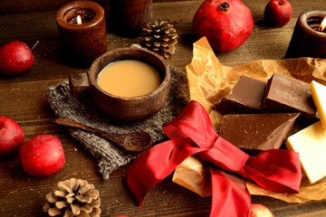 Chocolate and hot chocolate with red ribbon