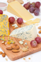 assorted cheeses, grapes and nuts on a wooden board