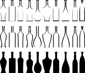 set of bottles  stencils and silhouettes