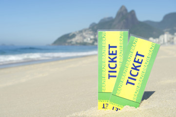Two Brazil Tickets in the Sand Ipanema Beach Rio
