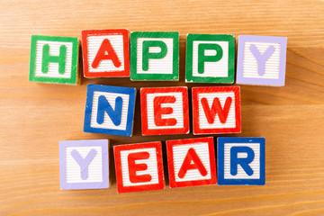 Happy new year toy block