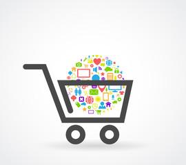 shopping cart social media concept