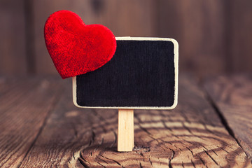 blackboard with red heart