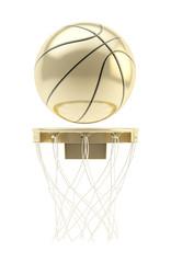Golden basketball ball over hoop isolated