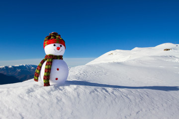 Snowman in e snow
