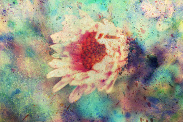 grunge artwork with small pink flower
