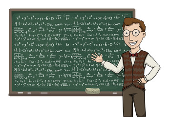 Teacher pointing at a black board with mathematical formulas
