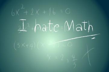 School Blackboard with I hate math Message written with Chalk