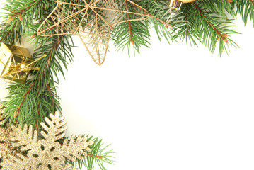 Beautiful Christmas decorations on fir tree isolated on white