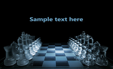 Glass chess board - your text here