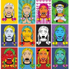 Woman cartoon emotions in pop art style