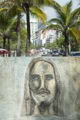 Rio Graffiti Drawing of Cristo Redentor Ipanema