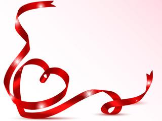Red ribbon valentine card