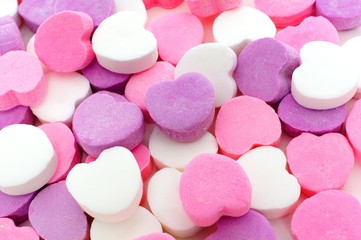 Valentines Day background of candy hearts