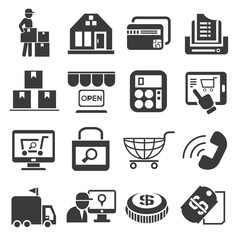 supermarket icons, shopping icons