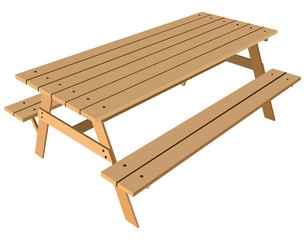 Standard table with benches
