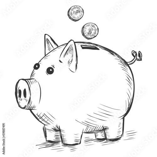 Line Drawing Piggy Bank : Quot vector sketch illustration piggy bank stock image and