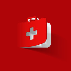 First Aid kit box, paper sticker