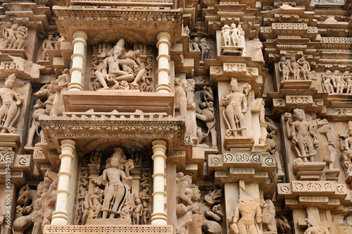 Indian Religious Symbols On Temples In Khajuraho Stock Photo And