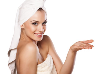 woman with the towel on her head, holding imaginary object
