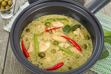 Thai green chicken curry with baby aubergines and snake beans