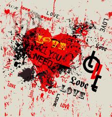 love illustration,  grunge style, vector