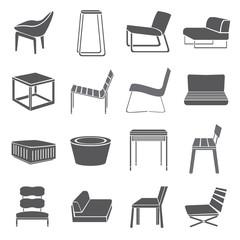 chair set, furniture icon set