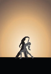 Dancing couple, sunset