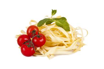 fresh pasta isolated on white background