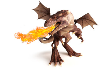 Fire breathing dragon on a white background.