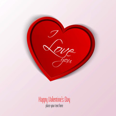 Valentines Day Card With Heart. Vector