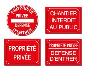 Chantier interdit au public, propriété privée, défense d'entrer.