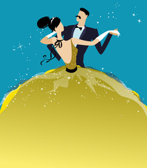 Ball Invitation Template with Dancing Couple
