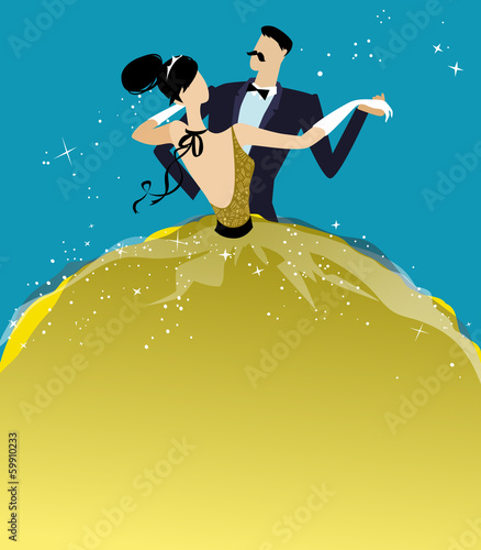 ball invitation template with dancing couple stock photo and