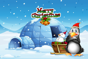 A snowman and a penguin in front of the igloo
