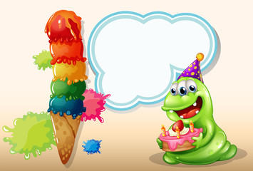 A happy monster holding a cake near the big icecream