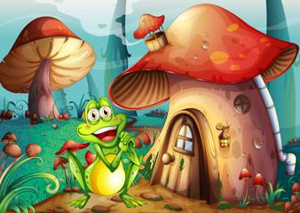 Deurstickers Magische wereld A frog near the mushroom house