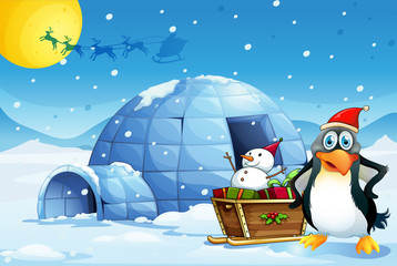 A penguin and the sleigh with a snowman near the igloo