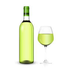 wine bottle with clear glass and bright content illustration