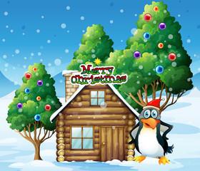 A penguin celebrating christmas