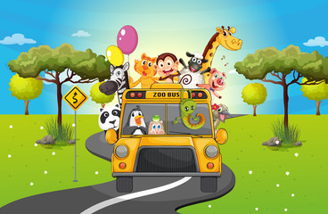 A group of happy animals travelling