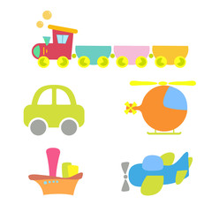 cartoon baby transport, set, isolated on white