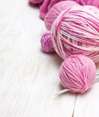 balls of pink yarn