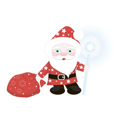 Santa Claus with gifts.Vector illustration.