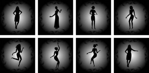 Abstract female silhouettes with background