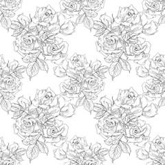 Monochrome Vintage Roses Seamless Pattern