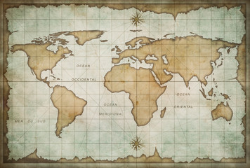 Wall Mural - aged treasure map with compass background