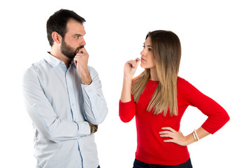 Couple seducing over white background