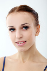 Photo of beautiful ballerina on white background